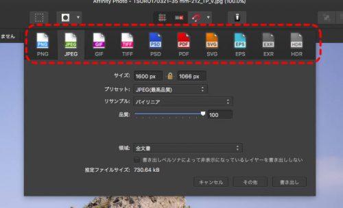ファイル形式選択
